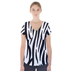 Seamless Zebra A Completely Zebra Skin Background Pattern Short Sleeve Front Detail Top