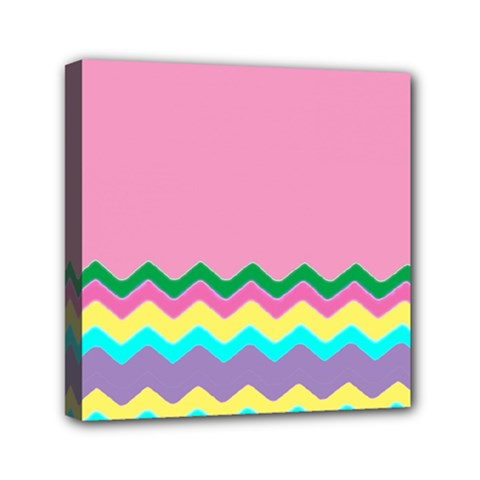 Easter Chevron Pattern Stripes Mini Canvas 6  X 6