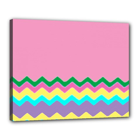 Easter Chevron Pattern Stripes Canvas 20  X 16