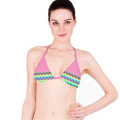 Easter Chevron Pattern Stripes Bikini Top