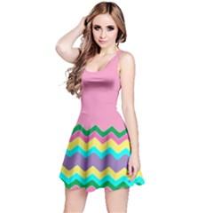 Easter Chevron Pattern Stripes Reversible Sleeveless Dress