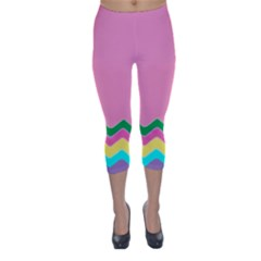 Easter Chevron Pattern Stripes Capri Winter Leggings