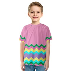 Easter Chevron Pattern Stripes Kids  Sport Mesh Tee