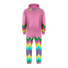 Easter Chevron Pattern Stripes Hooded Jumpsuit (kids)