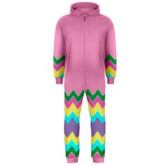 Easter Chevron Pattern Stripes Hooded Jumpsuit (men)