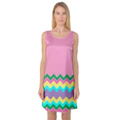 Easter Chevron Pattern Stripes Sleeveless Satin Nightdress