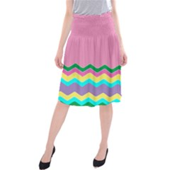 Easter Chevron Pattern Stripes Midi Beach Skirt