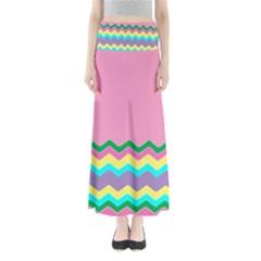 Easter Chevron Pattern Stripes Maxi Skirts