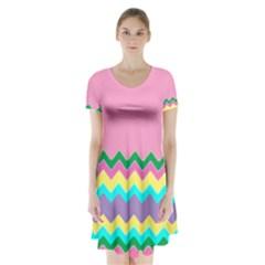 Easter Chevron Pattern Stripes Short Sleeve V Neck Flare Dress