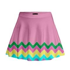 Easter Chevron Pattern Stripes Mini Flare Skirt