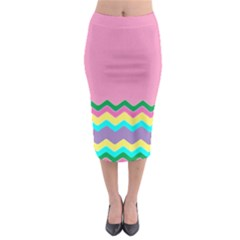 Easter Chevron Pattern Stripes Midi Pencil Skirt