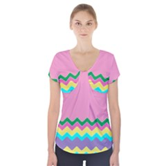 Easter Chevron Pattern Stripes Short Sleeve Front Detail Top