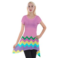 Easter Chevron Pattern Stripes Short Sleeve Side Drop Tunic