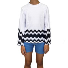 Chevrons Black Pattern Background Kids  Long Sleeve Swimwear