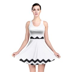 Chevrons Black Pattern Background Reversible Skater Dress