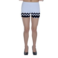 Chevrons Black Pattern Background Skinny Shorts