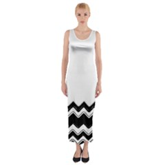 Chevrons Black Pattern Background Fitted Maxi Dress