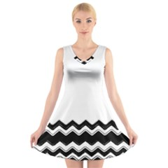 Chevrons Black Pattern Background V-Neck Sleeveless Skater Dress