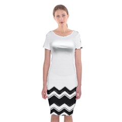 Chevrons Black Pattern Background Classic Short Sleeve Midi Dress