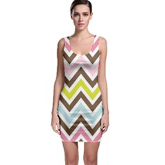 Chevrons Stripes Colors Background Sleeveless Bodycon Dress