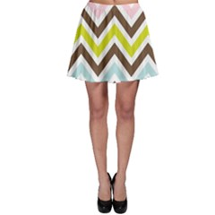 Chevrons Stripes Colors Background Skater Skirt