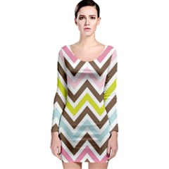 Chevrons Stripes Colors Background Long Sleeve Bodycon Dress