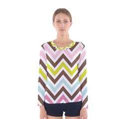 Chevrons Stripes Colors Background Women s Long Sleeve Tee
