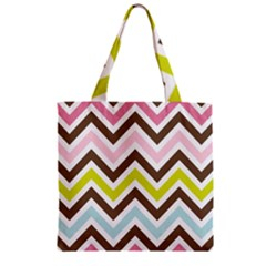 Chevrons Stripes Colors Background Zipper Grocery Tote Bag