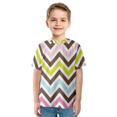 Chevrons Stripes Colors Background Kids  Sport Mesh Tee