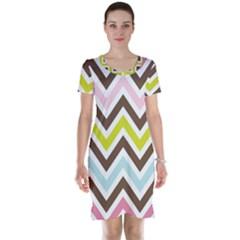 Chevrons Stripes Colors Background Short Sleeve Nightdress