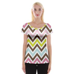 Chevrons Stripes Colors Background Women s Cap Sleeve Top