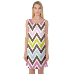 Chevrons Stripes Colors Background Sleeveless Satin Nightdress