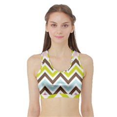 Chevrons Stripes Colors Background Sports Bra With Border