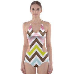 Chevrons Stripes Colors Background Cut Out One Piece Swimsuit