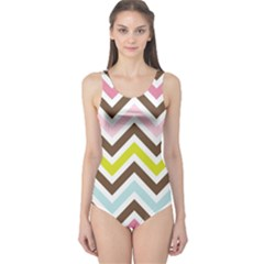 Chevrons Stripes Colors Background One Piece Swimsuit