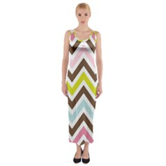 Chevrons Stripes Colors Background Fitted Maxi Dress
