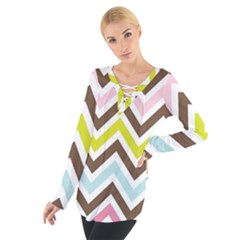 Chevrons Stripes Colors Background Women s Tie Up Tee