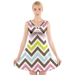 Chevrons Stripes Colors Background V Neck Sleeveless Skater Dress