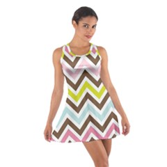 Chevrons Stripes Colors Background Cotton Racerback Dress