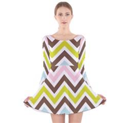 Chevrons Stripes Colors Background Long Sleeve Velvet Skater Dress