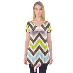 Chevrons Stripes Colors Background Short Sleeve Tunic