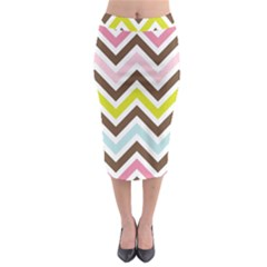 Chevrons Stripes Colors Background Midi Pencil Skirt