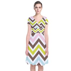 Chevrons Stripes Colors Background Short Sleeve Front Wrap Dress