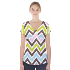 Chevrons Stripes Colors Background Short Sleeve Front Detail Top