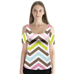 Chevrons Stripes Colors Background Butterfly Sleeve Cutout Tee