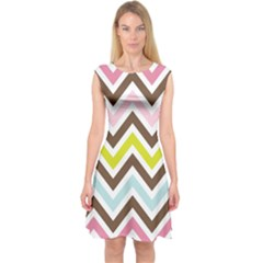 Chevrons Stripes Colors Background Capsleeve Midi Dress