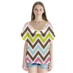 Chevrons Stripes Colors Background Flutter Sleeve Top