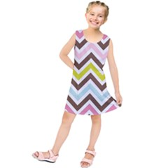 Chevrons Stripes Colors Background Kids  Tunic Dress