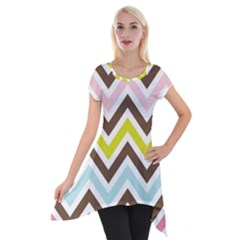 Chevrons Stripes Colors Background Short Sleeve Side Drop Tunic