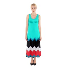 Pattern Digital Painting Lines Art Sleeveless Maxi Dress